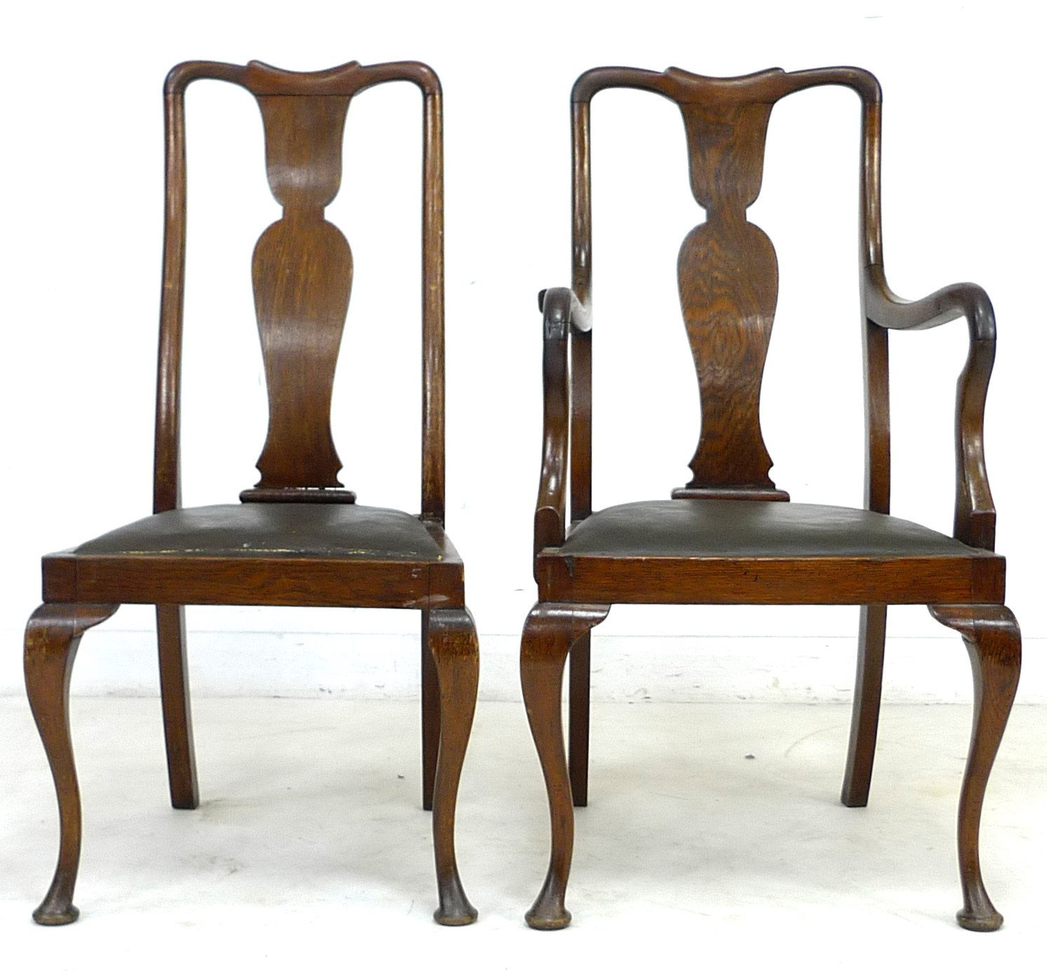 A set of six early 20th century oak dining chairs, 52 by 55 by 106cm high, in Queen Anne style - Image 2 of 4