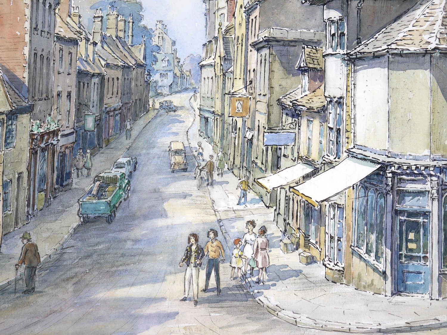 Wilfrid Rene Wood (British, 1888-1976): a view of Stamford, depicting ?All Saints Place? (No 48), - Image 3 of 7