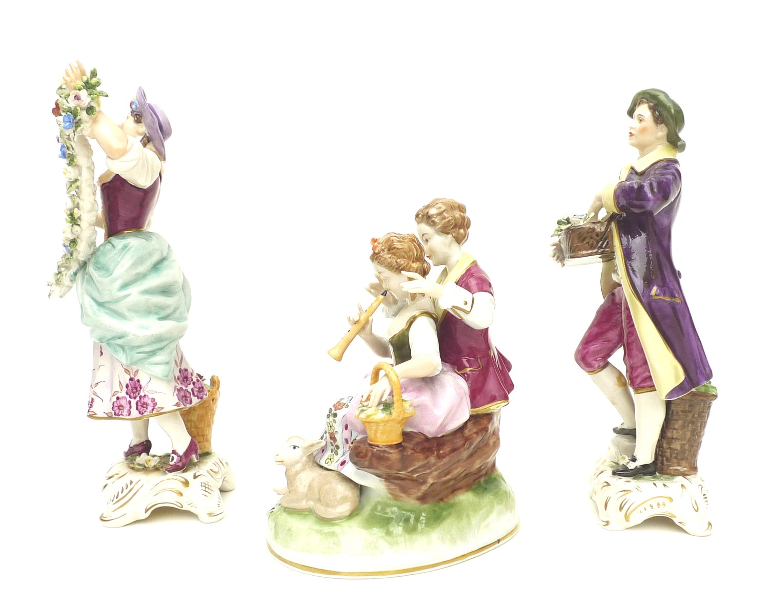 A pair of Rudolstadt Volkstedt figurines, in the Dresden style, comprising male and female flower - Image 3 of 7