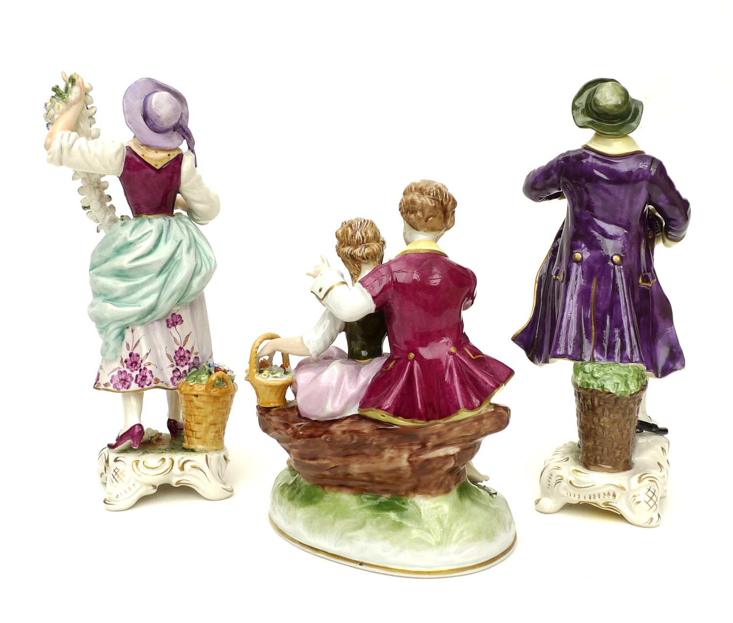 A pair of Rudolstadt Volkstedt figurines, in the Dresden style, comprising male and female flower - Image 2 of 7