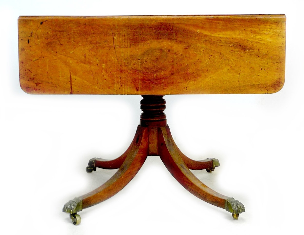 A Regency mahogany sofa table, with single frieze drawer, raised on four outswept legs with brass - Image 4 of 5