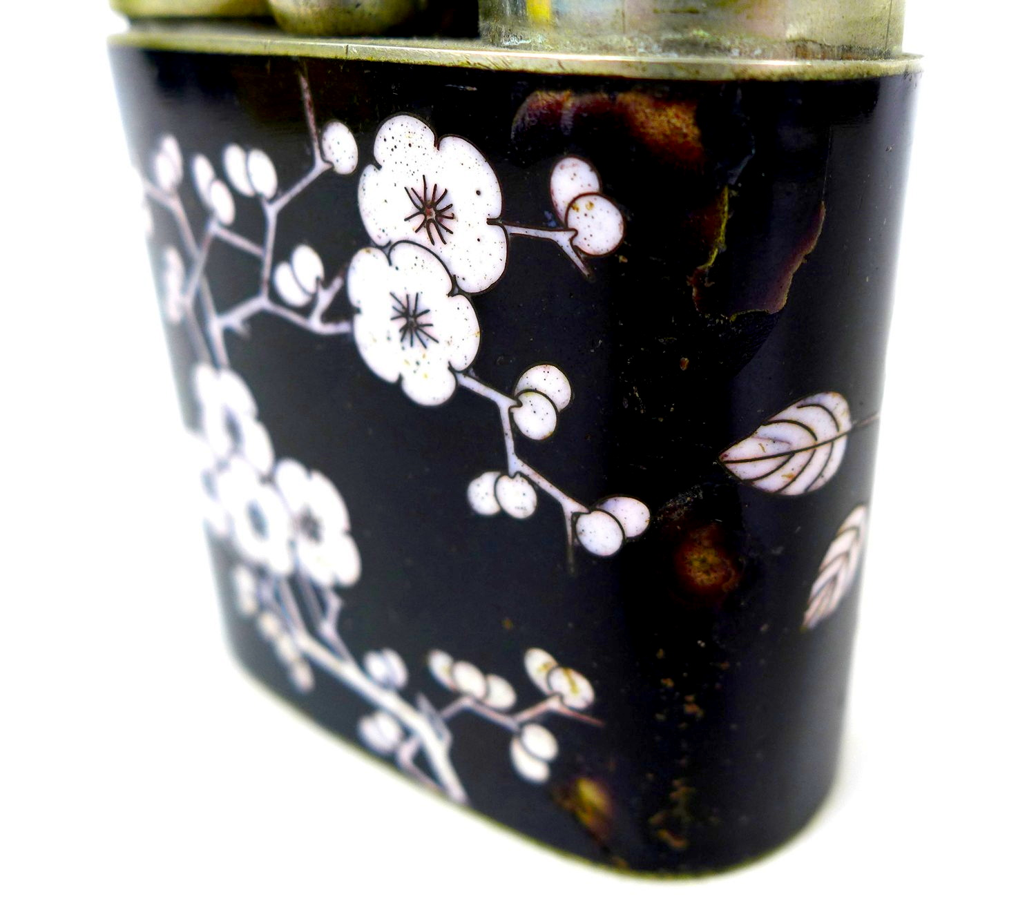 A group of three Chinese opium pipes, the largest with white blossom on black enamels decoration, - Image 4 of 6
