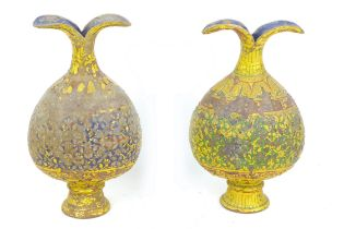 Two late 19th century Eastern papier mache vases, of bulb form, with flared petal like rims, one