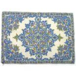 A caucasian ground Kashmiri hand stitched woollen chain rug, 83 by 59cm.