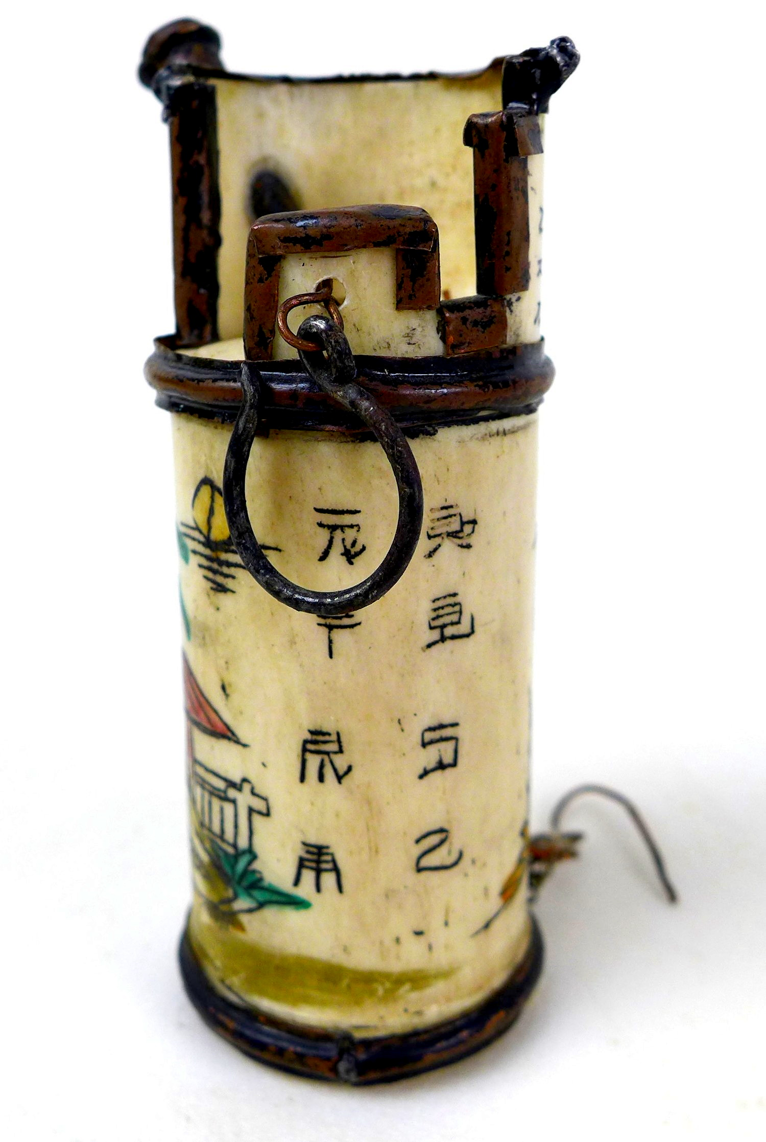 A group of three Chinese opium pipes, the largest with white blossom on black enamels decoration, - Image 5 of 6
