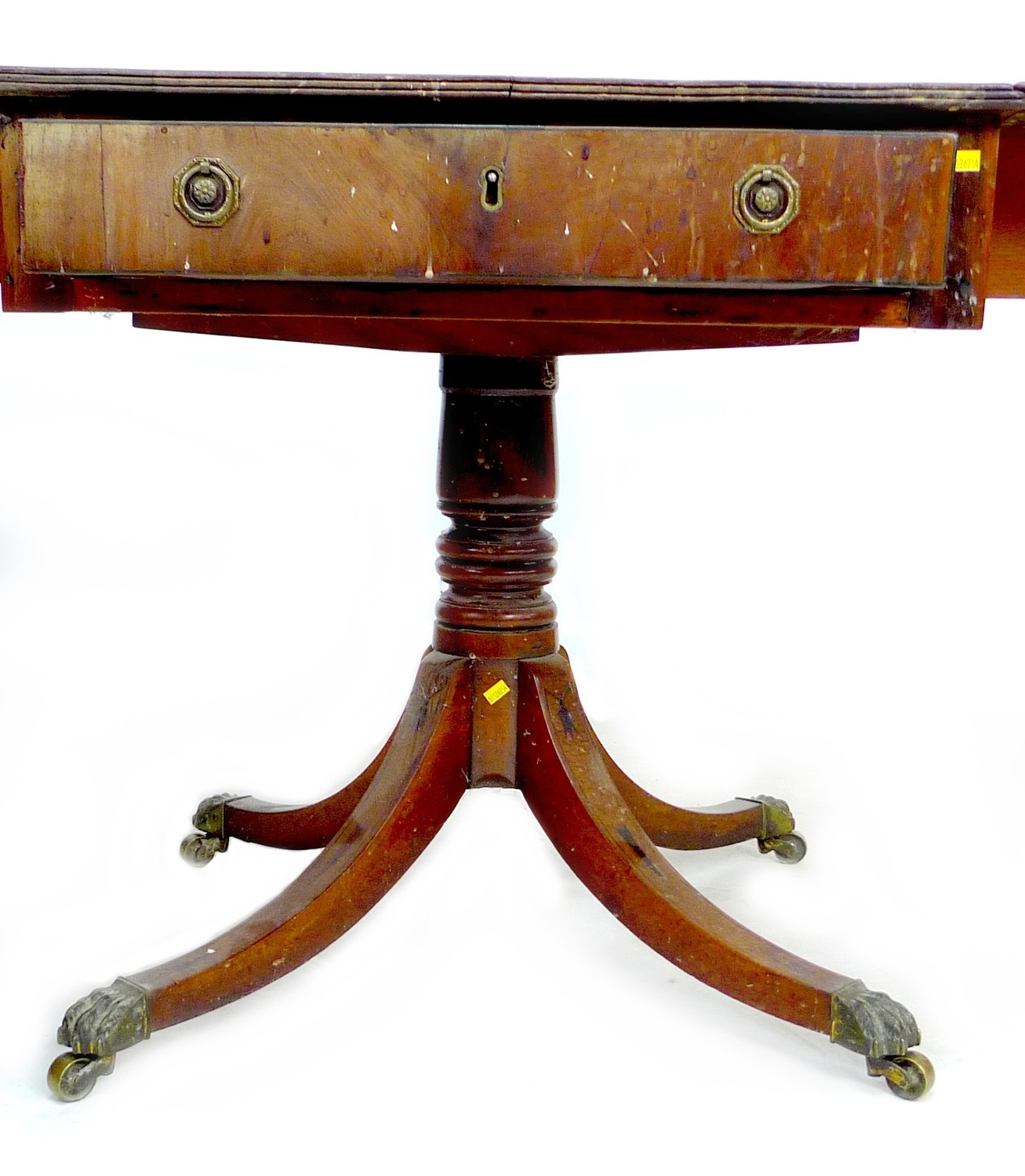 A Regency mahogany sofa table, with single frieze drawer, raised on four outswept legs with brass - Image 3 of 5