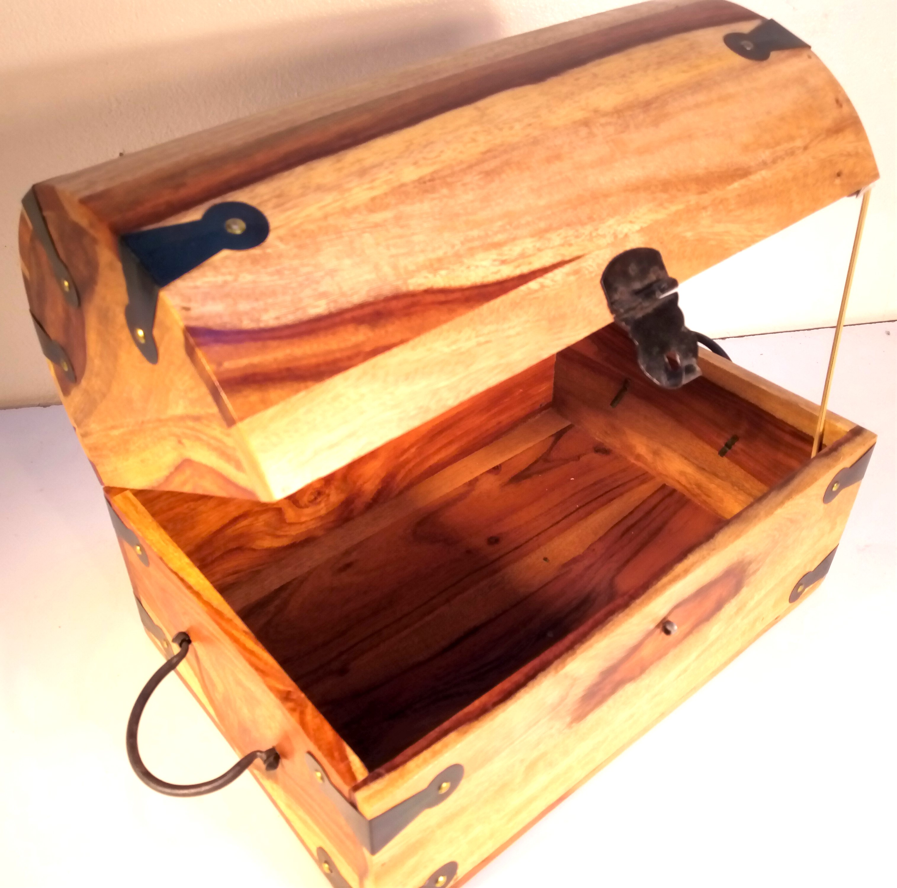 Mango wood 'Treasure Chest' banded with metal and with metal handles and clasp. 36 x 25 x 25cm. New - Image 2 of 2