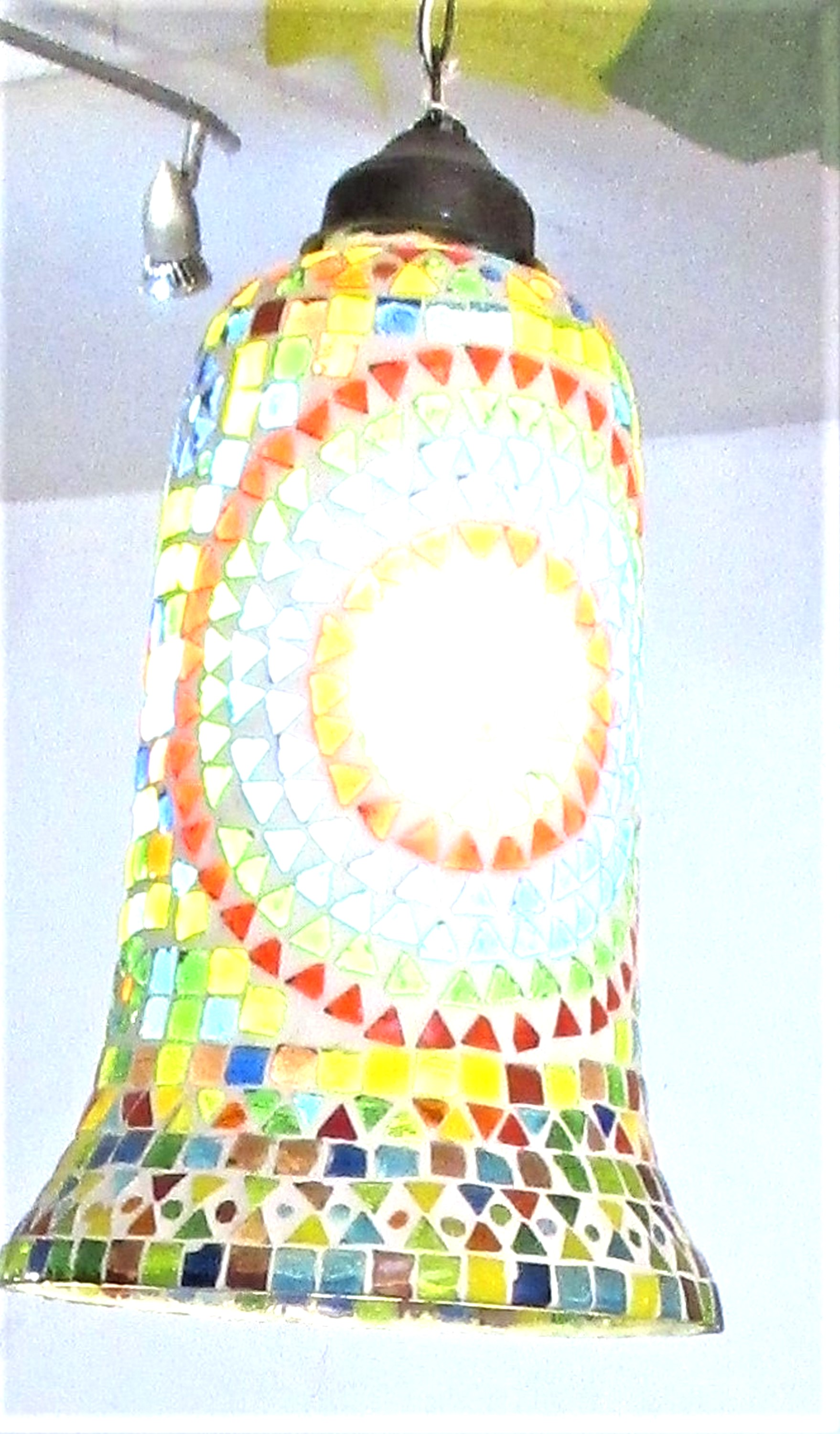 2x lamp shades from Udaipur. Glass mosaic. We recommend they are rewired to UK standards. (Indian