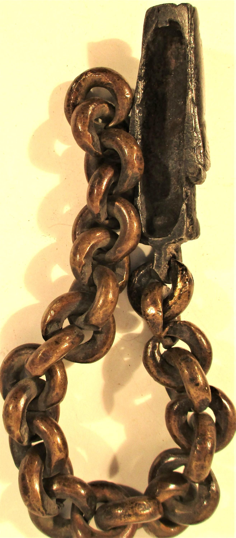 Batak chain with singa head used as handle for leather bag, datu. Torba Batak 24cm. Mid 20th c. - Image 2 of 3