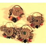 5x antique white metal single earrings with semi precious and glass stones.