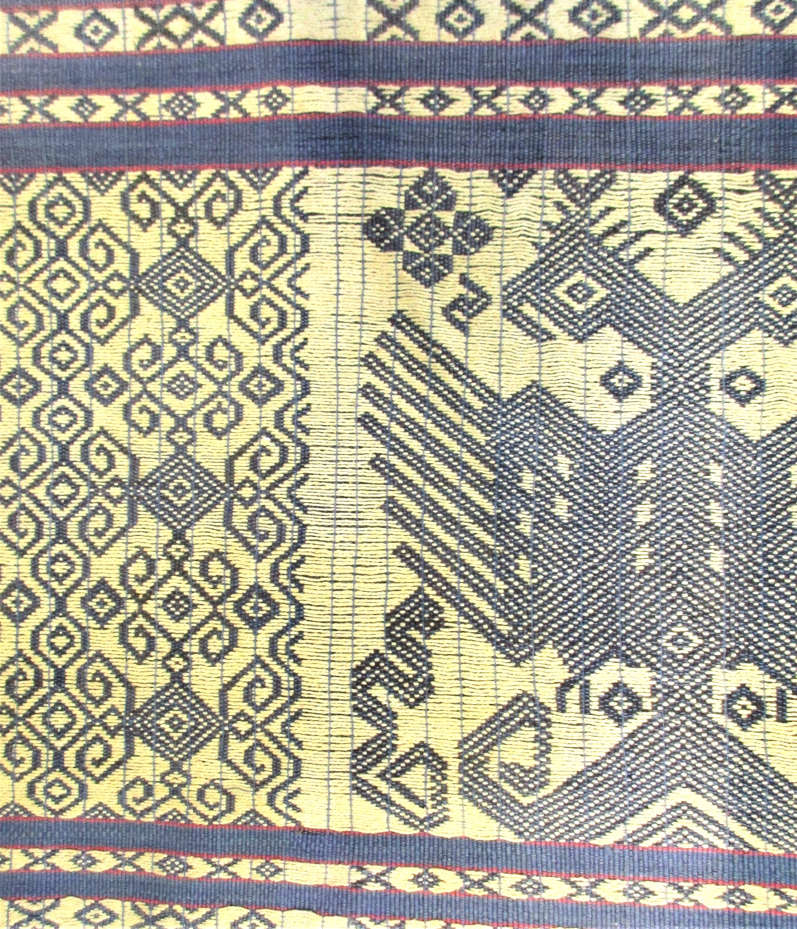 Ceremonial sash from east Sumba with a pattern of mythical birds and geometric patterns worked in - Image 2 of 2