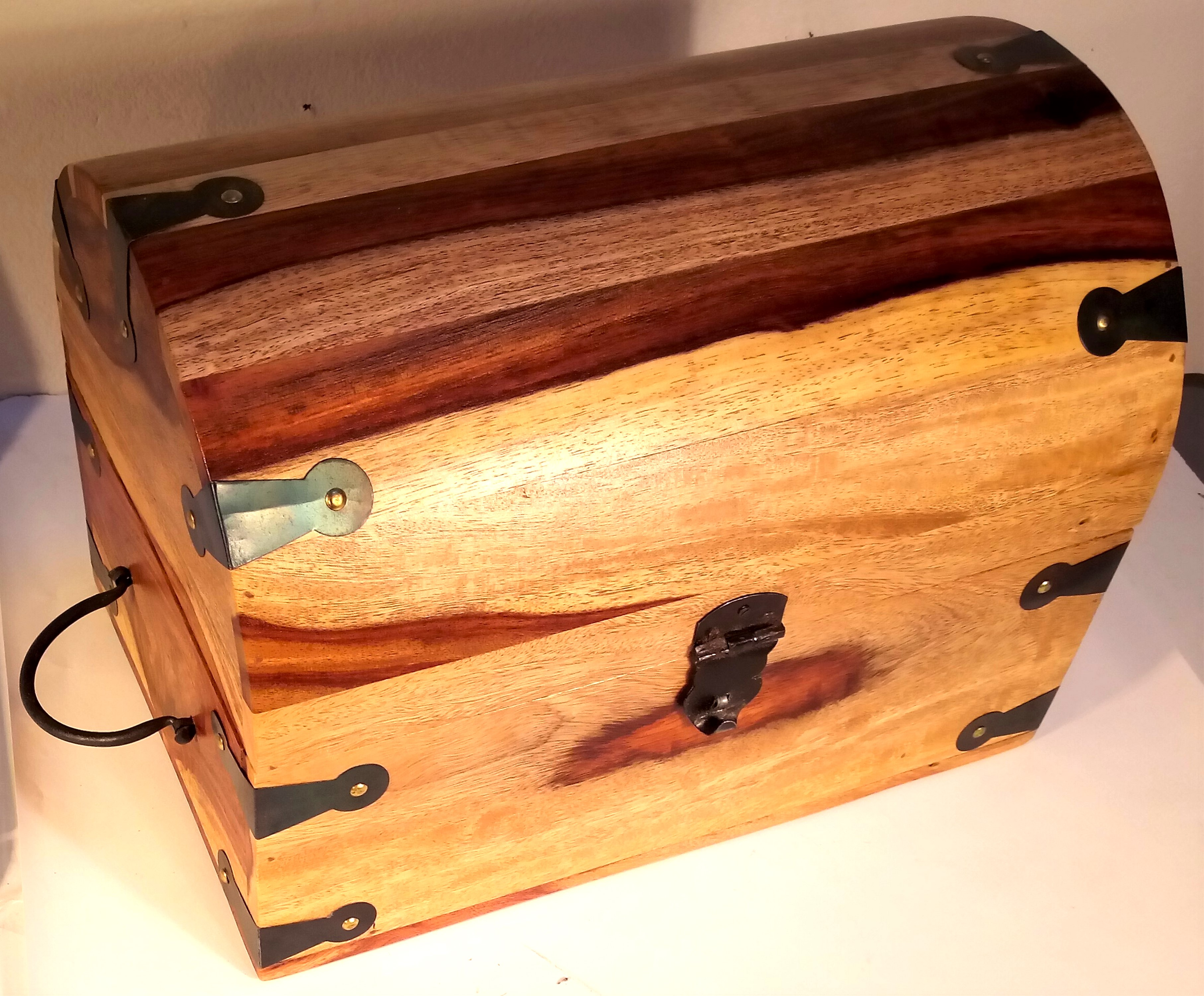 Mango wood 'Treasure Chest' banded with metal and with metal handles and clasp. 36 x 25 x 25cm. New