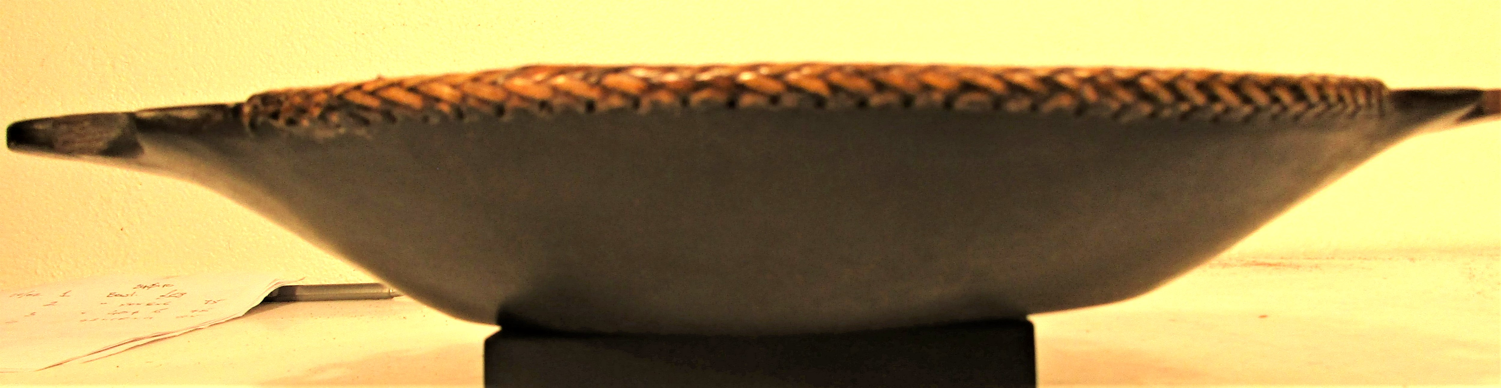 Hardwood bowl from Sarawak, Borneo. Plaited rattan edges and beautiful carved handles that are - Image 3 of 4