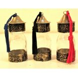 Set of 3 traditional glass perfume bottles from Morocco. Each 8 x 3cm. New