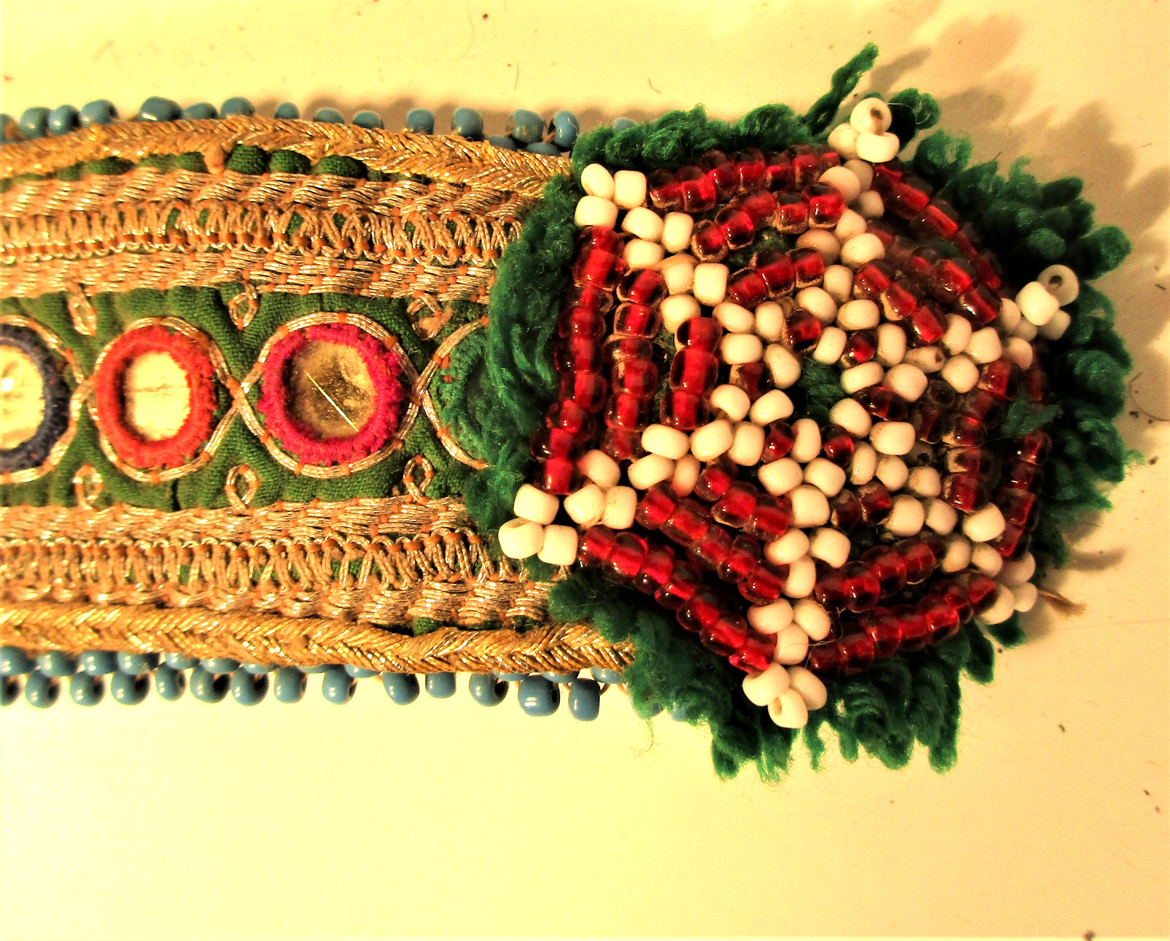 Dress decoration used by Koochi nomads. Embroidered gold wire, gul-i-perons and small mirrors. 20 - Image 2 of 2