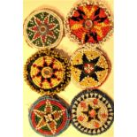 6 x Gul-i-peron. Fine glass bead work is usually done by young girls. Early 21st c.