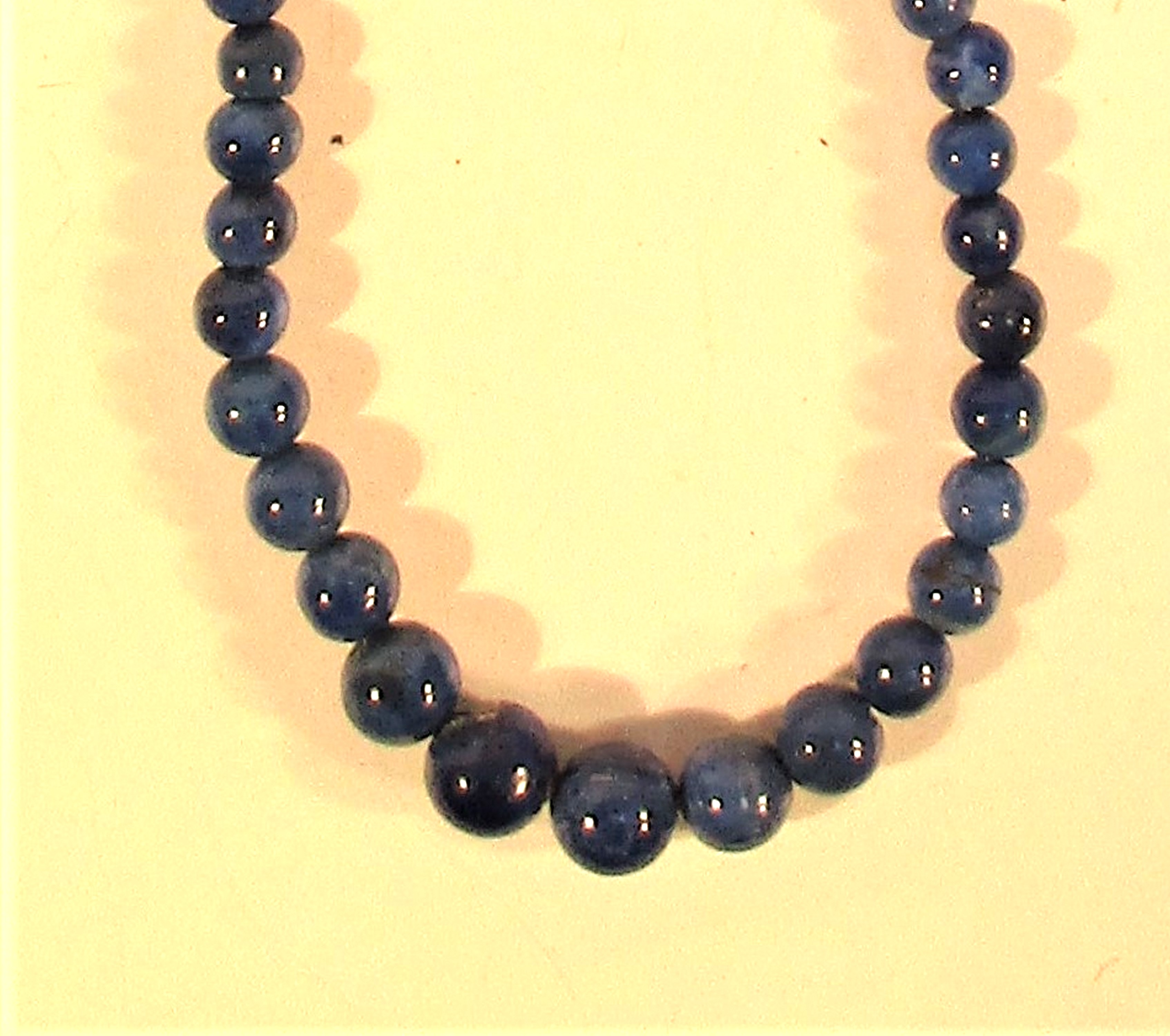Necklace of graded lapis lazuli beads. Lapis lazuli is mined in a very remote corner of Afghanistan. - Image 2 of 2
