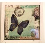 Storage box with blue butterfly and postage mark designed tile on the lid. Painted white inside, and