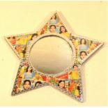Star shaped film star mirror. 24 x 24cm. New