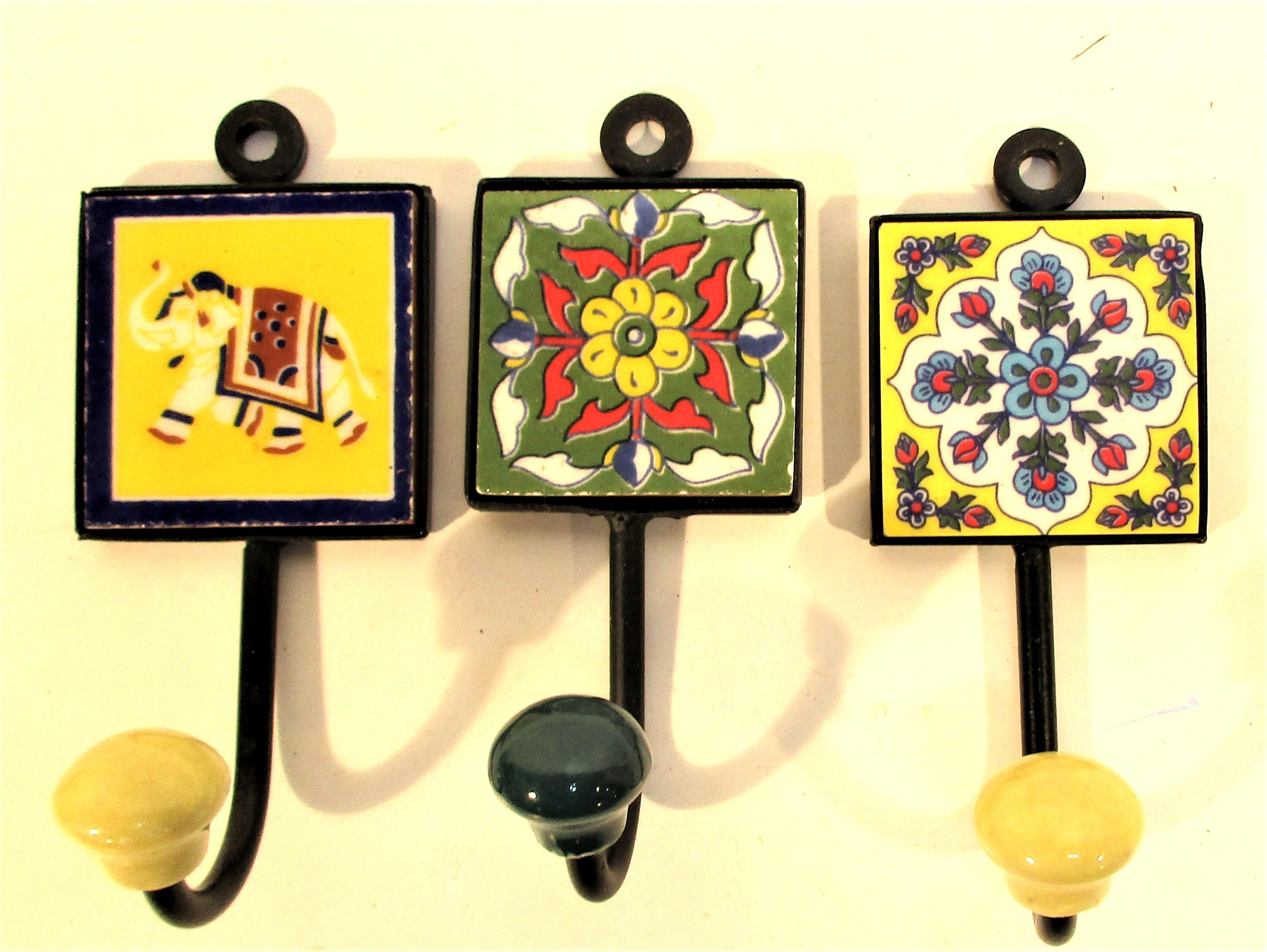 3x Metal coat hooks with ceramic tile. Each 12 x 6cm.