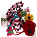 10x assorted felt items. Hair ties, brooches, bracelets, key rings.