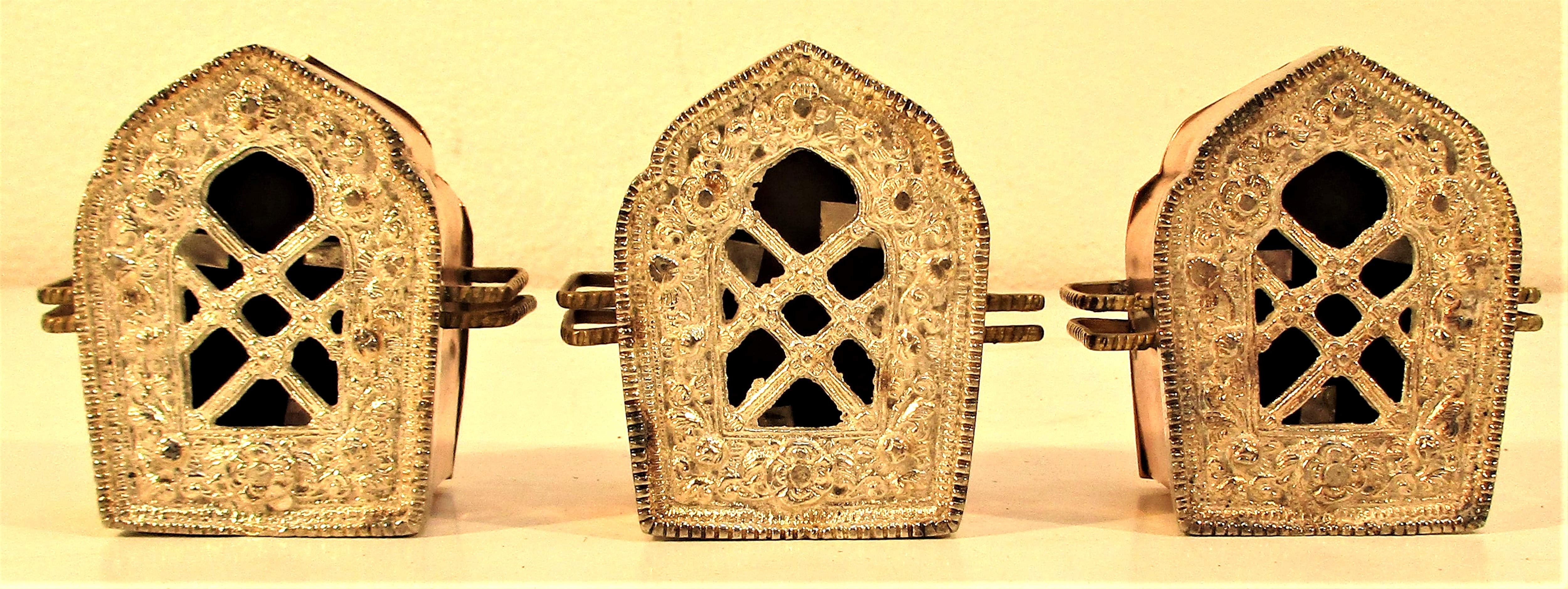 Set of 3 brass festival lights used at the Diwali Festival. Each 6 x 6cm. New