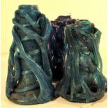 4x Afghan glass candle sticks. Each 16 x 8cm.
