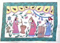 Another folk painting of three women pounding maze in a pestle mortar and pulling water from the