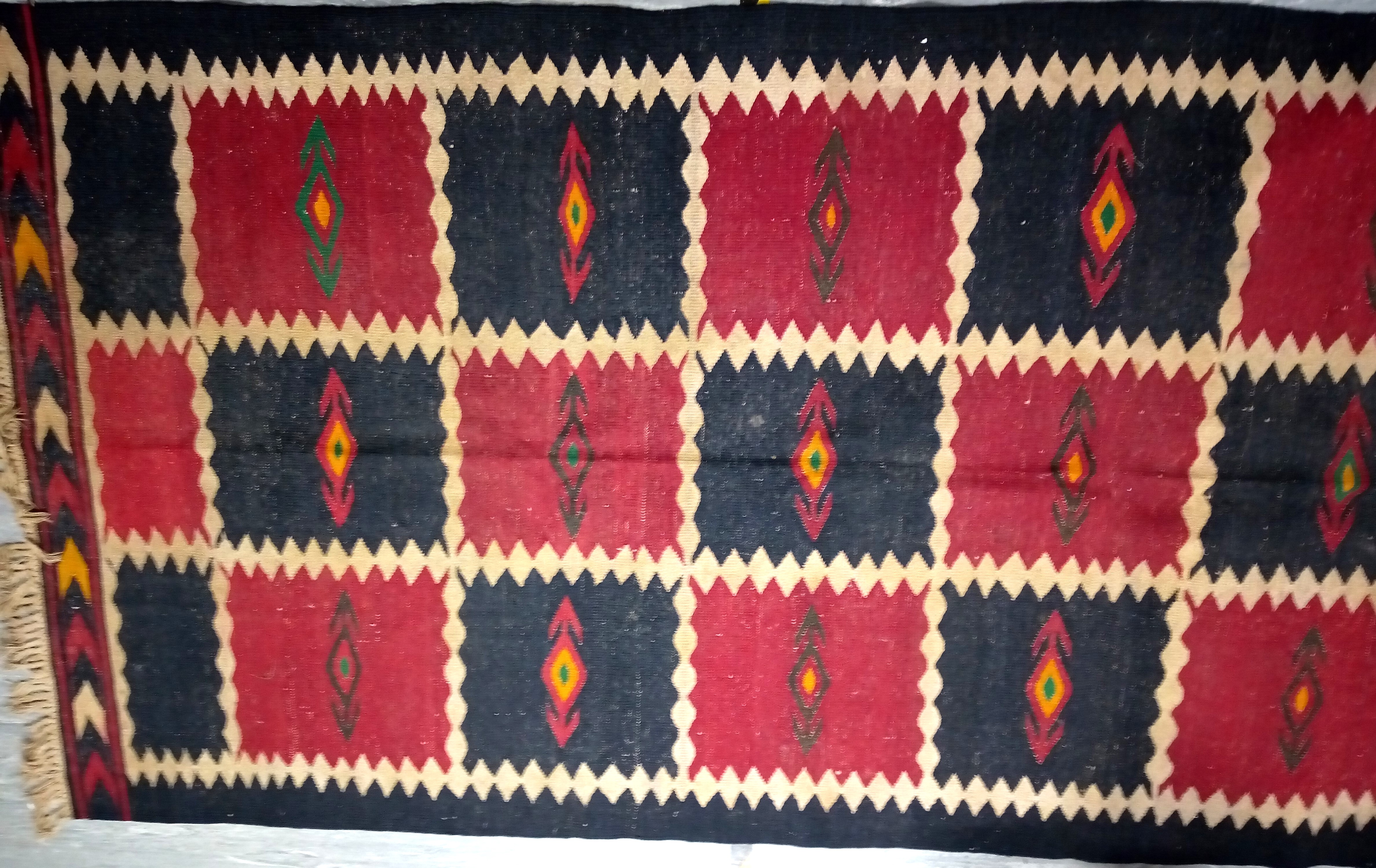 Afghan Kilim. This large, heavy rug is from the Labijar region of north Afghanistan. 420 x 195cm.