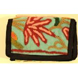 Kashmir embroidered wallet with multiple pockets. 26 x 13cm.