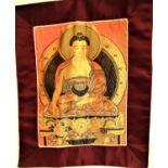 Temple hanging of Buddha. Printed cotton. Nepal. 32 x 16cm. New