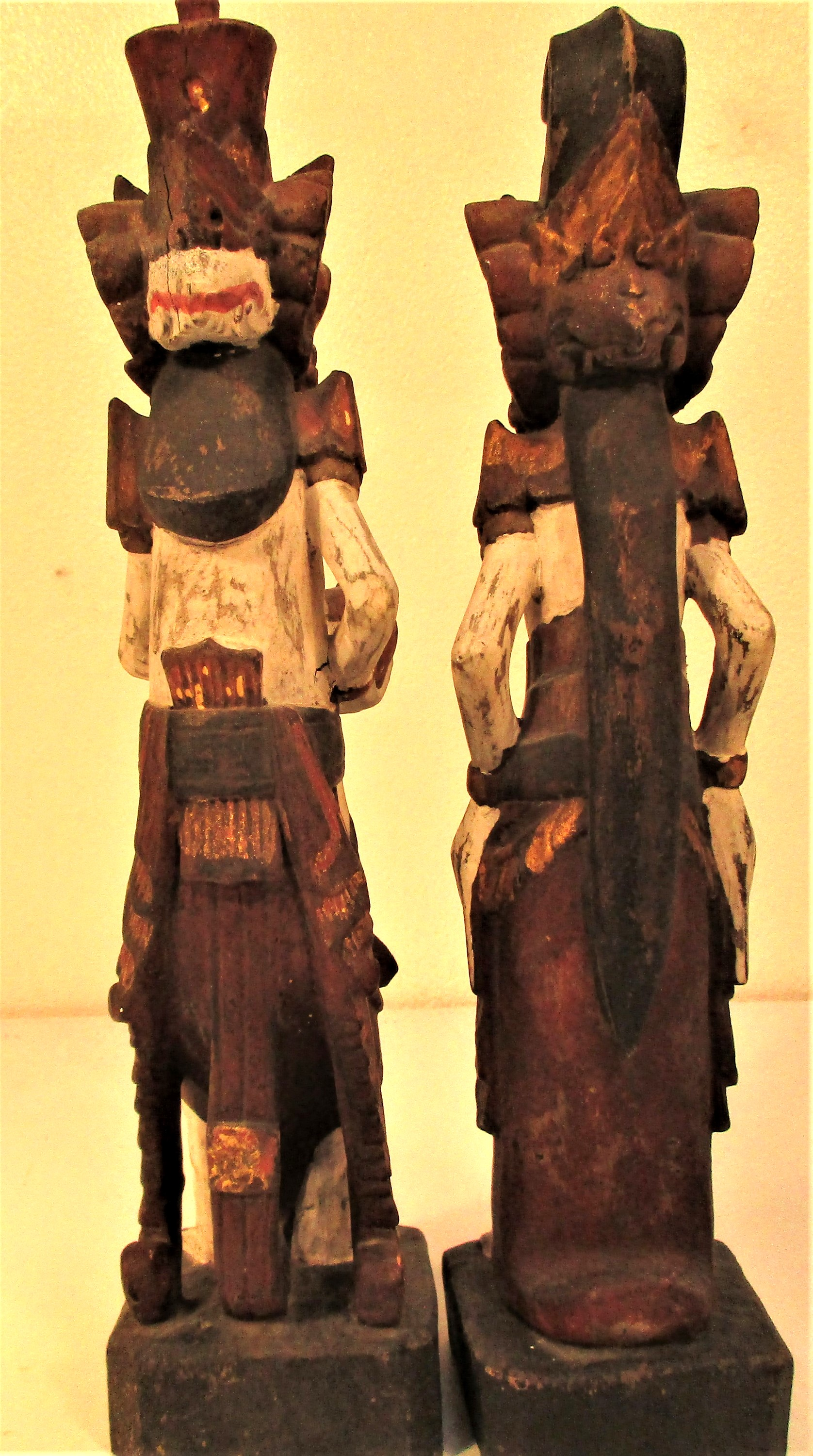 Wedding couple statues from east Bali. They are carved wearing tradition costumes and head dress, - Image 3 of 4