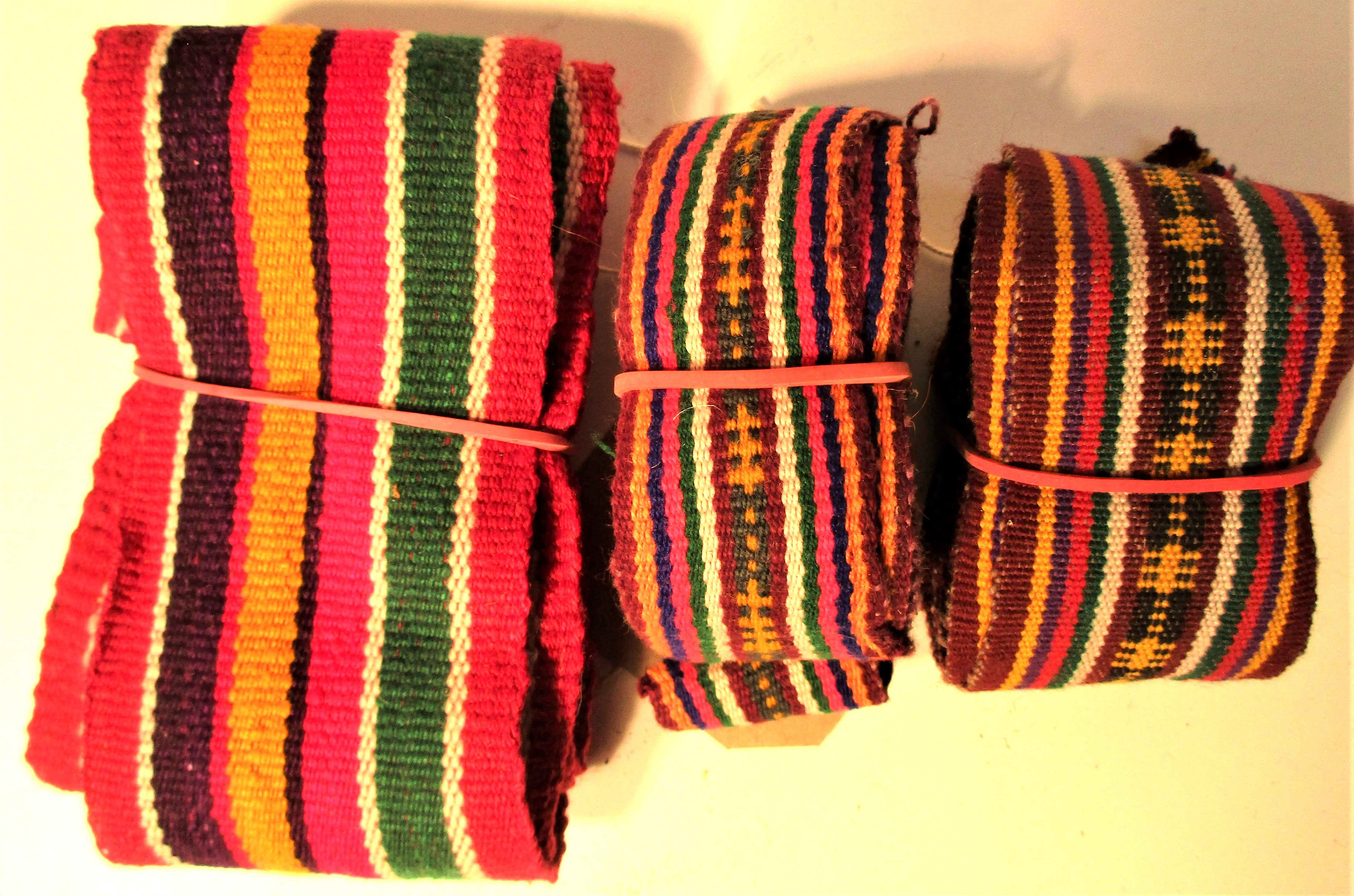 3x Woven bands. When you have to transport your goods and house hold items on a donkey or horse