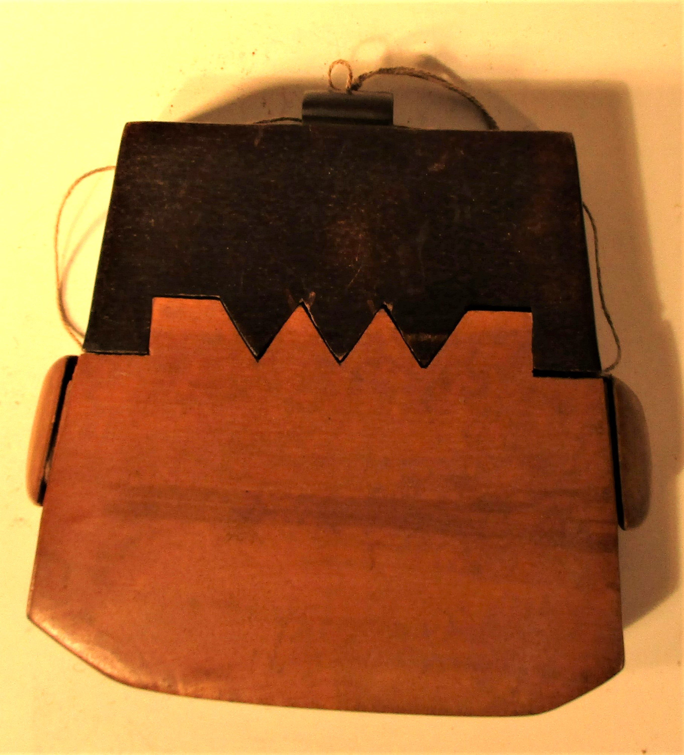 Tobacco pouch possibly from Lombok or Java.. Made from a hardwood with and ebony wood lid. 12 x
