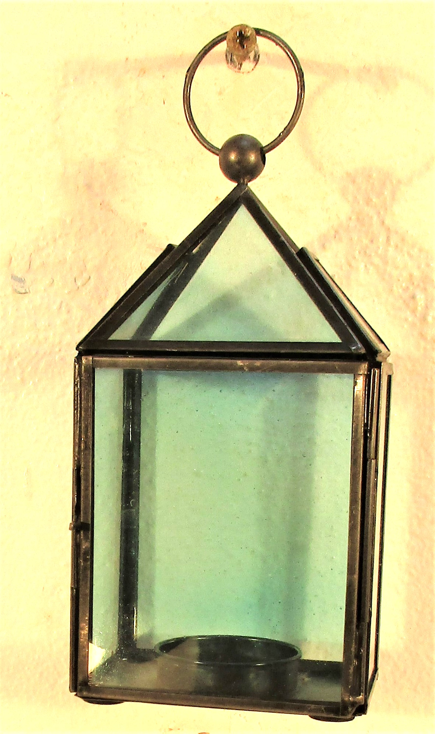 Metal and glass night light holder in shape of small lantern. 18cm. New
