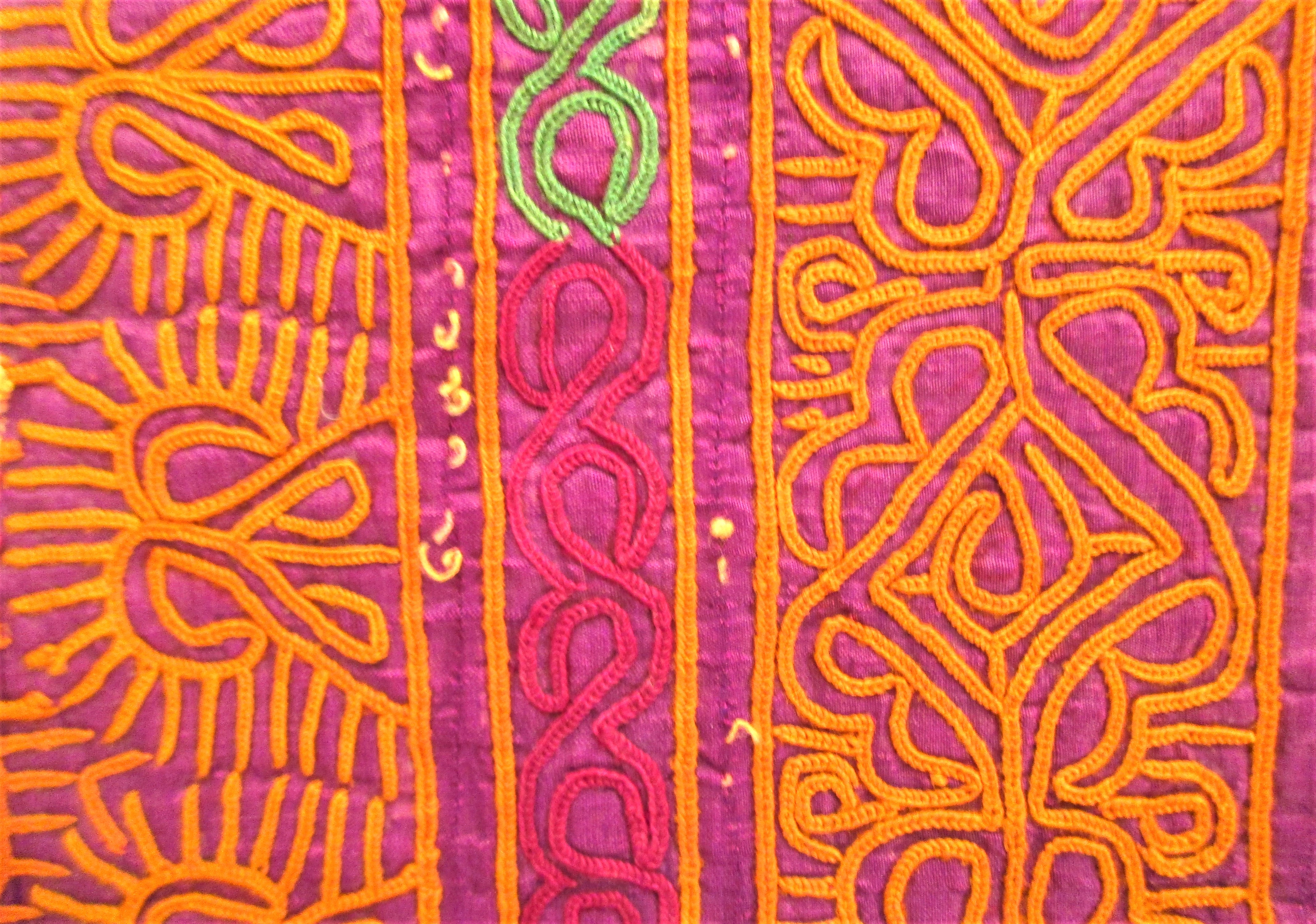 Hazara bread cover. Silk with chain stich decoration. . 76 x 45cm. Late 20th c. Notes: Textiles of - Image 2 of 2