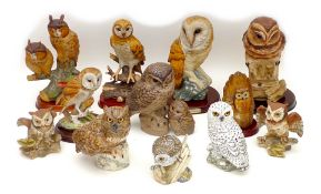 A group of twelve large owl figurines, including three Mack figurines, 'Little Owl', 11.5 by 9 by