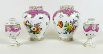 A pair of Meissen Neo-Classical small vases, likely 19th century, the urn shaped form modelled