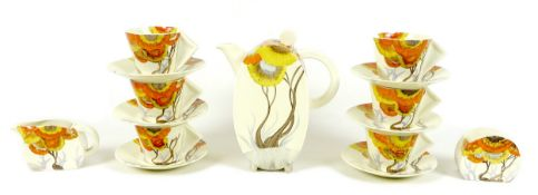 A Clarice Cliff coffee service, Bonjour shape, decorated in the Rhodanthe pattern, comprising coffee