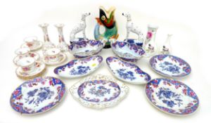 A collection of mixed ceramics, comprising eight Spode pieces of tableware, four Dresden cups and