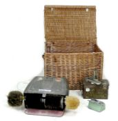 A collection of vintage items, comprising a large wicker hamper, 72 by 55 by 51cm high a shoe