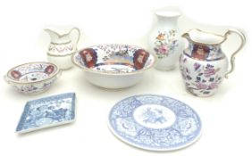 A group of ceramics including a Spode Wash set, in the Imperial pattern, comprising jug 26cm high,