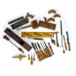 A group of woodworking and building tools, some stamped with maker's names. (1 box)