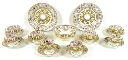A Regency porcelain part tea and coffee service, possibly Coalport, finely decorated with a gilded