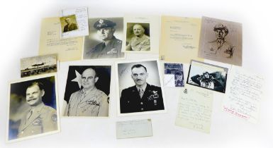 A collection of WWII US Air Force Fighter pilot signatures, including Donald Blakesiee, the Flying