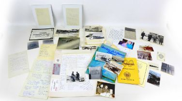 A collection of WWII USAAF ephemera and signatures, including signatures from 357th, 56th, as well