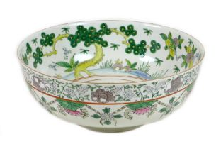 A Chinese famille verte porcelain bowl, mid 20th century, decorated in Kangxi style, internally to