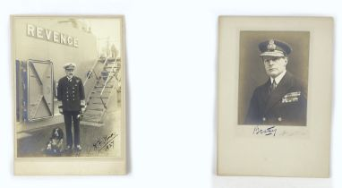 Two signed WWI British admiral photographic portraits, comprisingS WWI Admiral David Beatty (1871-