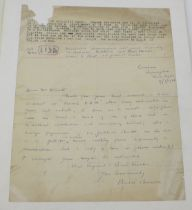 A handwritten and signed letter by archaeologist Basil Brown (1888-1977), Brown discovered and