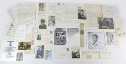 A collection of WWII German fighter pilot signatures and photographs, including a handwritten letter